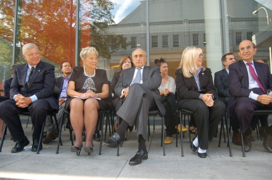 Waiting to cut the ribbon (from left Peter Vallone I, Helen Marshall, George Kaufman, Nancy Sinatra, & Joel Klein)